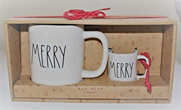 Rae Dunn MERRY Mug and MERRY Ornament in Large Letters LL 2 piece Christmas Set with ribbons, in Gift Box. By Magenta.