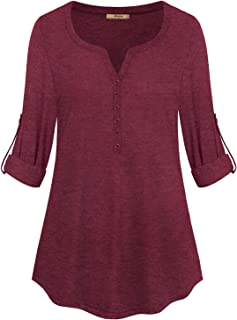 Womens Henley V-Neck 3/4 Roll-up Sleeve Tunic Blouse Button Tee Shirts