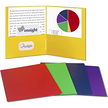Ensight 50 pack 2 Pocket Folders, Bulk Colors, Red, Blue, Green, Yellow, Purple Colored 2 Pocket Folder for School, Classroom, Office or Presentations, Letter Size Filing Folders, Textured Surface