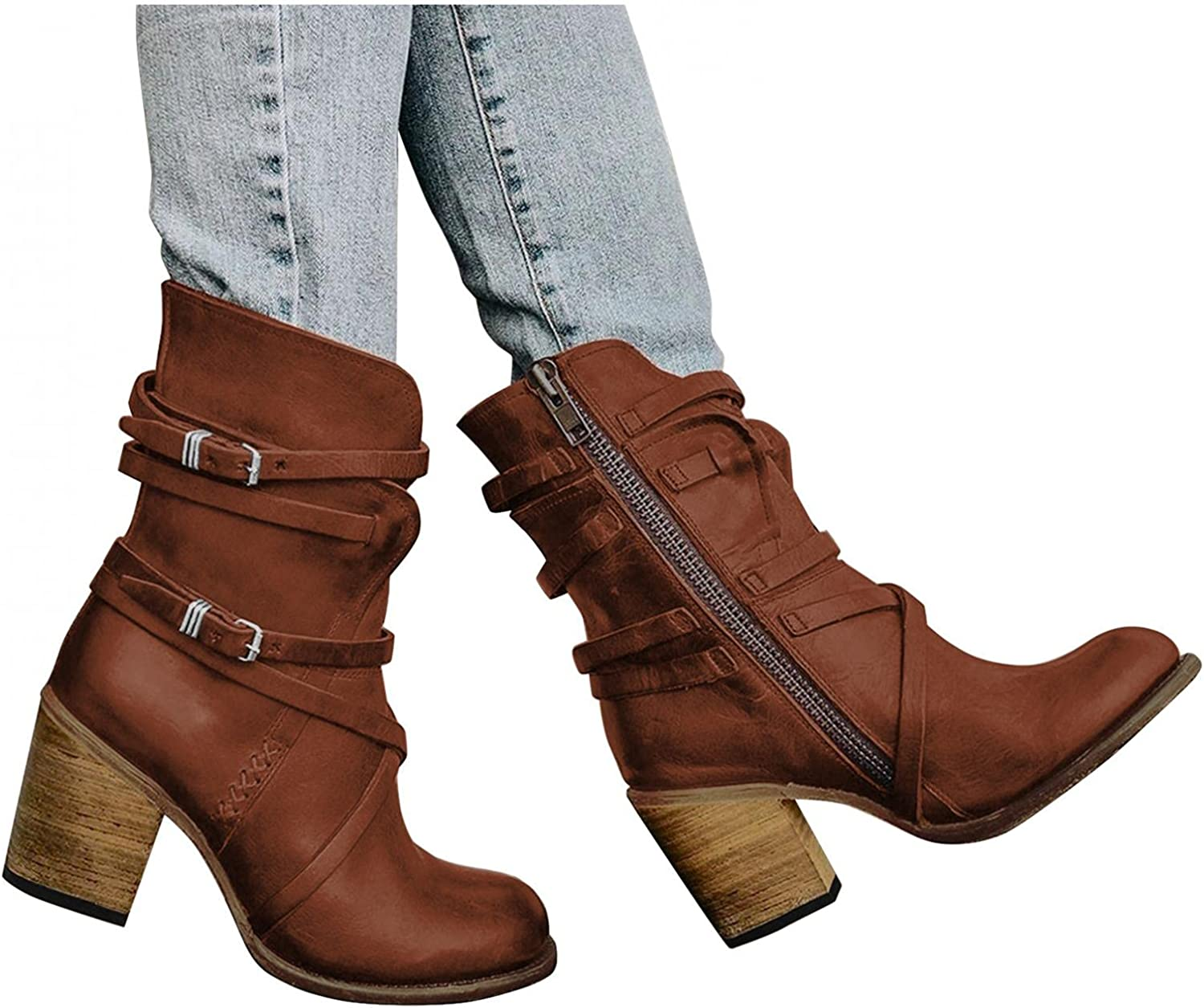 Hbeylia Leather Cowboys Cowgirls Boots For Women Fashion Slouchy Strap Belt Wrapped Chunky Block High Heels Wide Mid Calf Boots Vintage Western Dressy Pump Ankle Booties Riding Short Boots