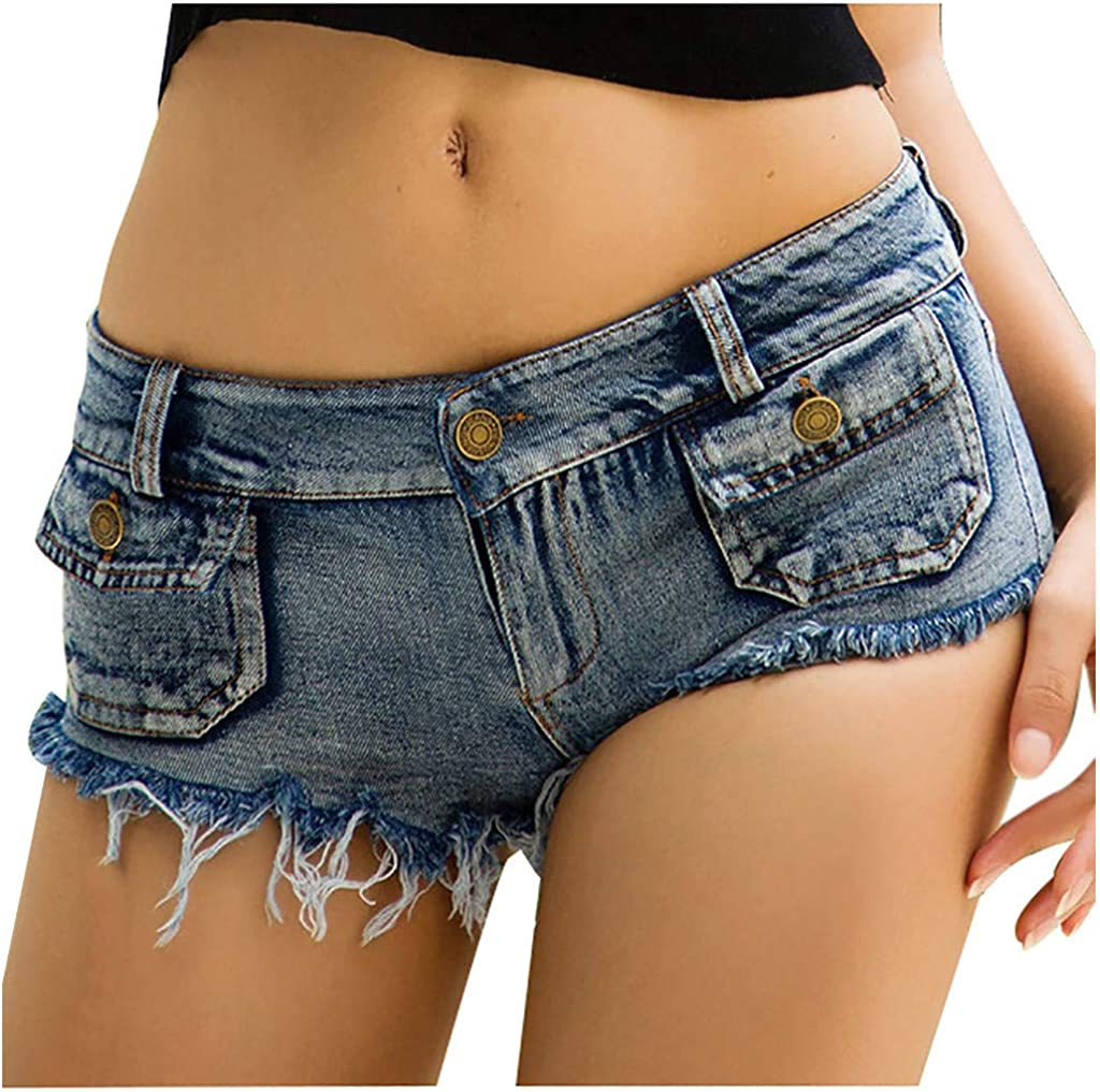 Women's Sexy Bandage Cut Off High Waist Denim Jeans Shorts Mini Pants Holes Denim Shorts Slim Shorts with Elastic