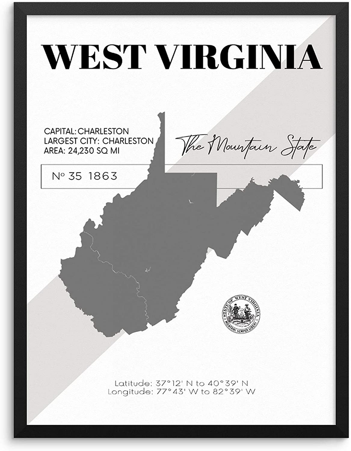 West Virginia State Map Poster With Demographics Minimalist Home Decor  Travel Art Print 20x20 UNFRAMED Trendy Artwork for Bedroom Living Room  Entryway ...
