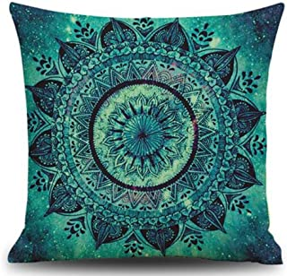 European Retro Mandala Moroccan Ethnic Style Turquoise Teal Color Cotton Linen Throw Pillow Case Personalized Cushion Cove...