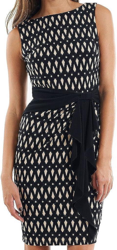 Joseph Ribkoff Black & Tan Sleeveless Geometric Print Dress Style 153773