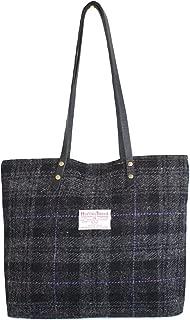 Harris Tweed Ladies Runner Bag - FREE STANDARD SHIPPING - Black House Plaid Design Hand Made in Scotland