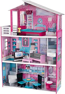 """KidKraft Wooden Breanna Dollhouse for 18"""" Dolls with 12Piece Accessories, 5-Foot Tall Toy, Multicolor, Model:65882"""
