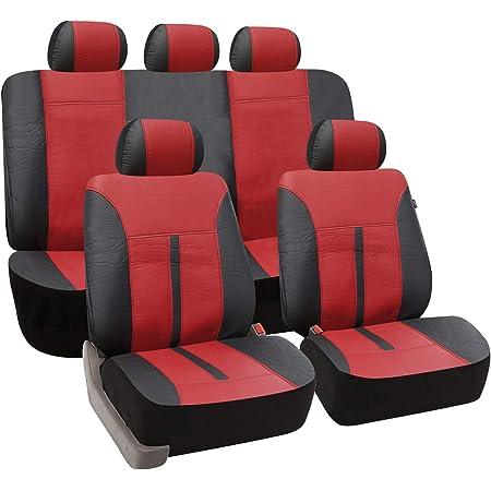 Esituro Universal Auto Schonbezug Komplettset Sitzbezüge Für Auto Aus Kunstleder Schwarz Bordeaux Scsc0084 Auto