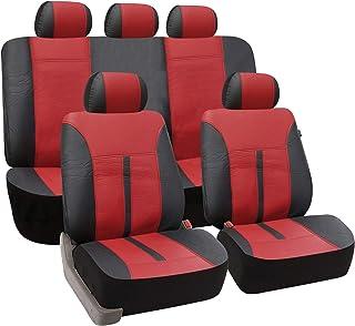 eSituro universal Auto Schonbezug Komplettset Sitzbezüge für Auto aus Kunstleder schwarz/Bordeaux SCSC0084