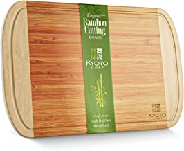 """Bamboo Cutting Board – 18"""" x 12"""" XL Chef Style Chopping Board - Natural Serving Board –Environmentally Friendly Butcher Bl..."""