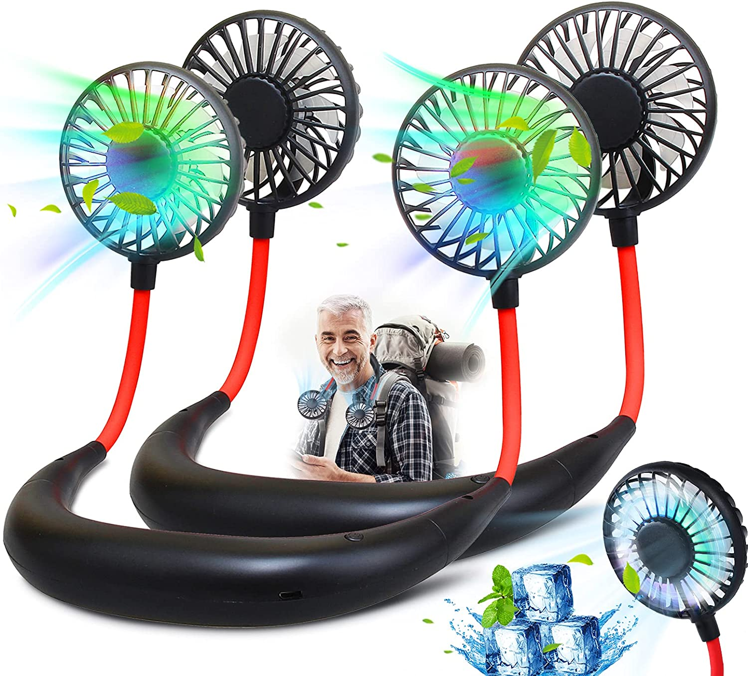 2Pack Portable Neck Fan, Wearable Personal Fan, Rechargeable Hanging Neck Fan for Men,Women, Handsfree Headphone Design for Camping,Travel,Office,Home,Outdoor, USB Powered, 3 Speeds (Black)