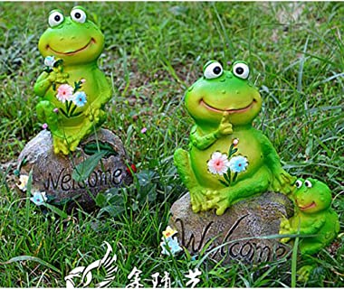 Flameer Frog Garden Statue Family Frogs on Welcome Rocks Decorative Ornament for Garden Pond (2pcs Set