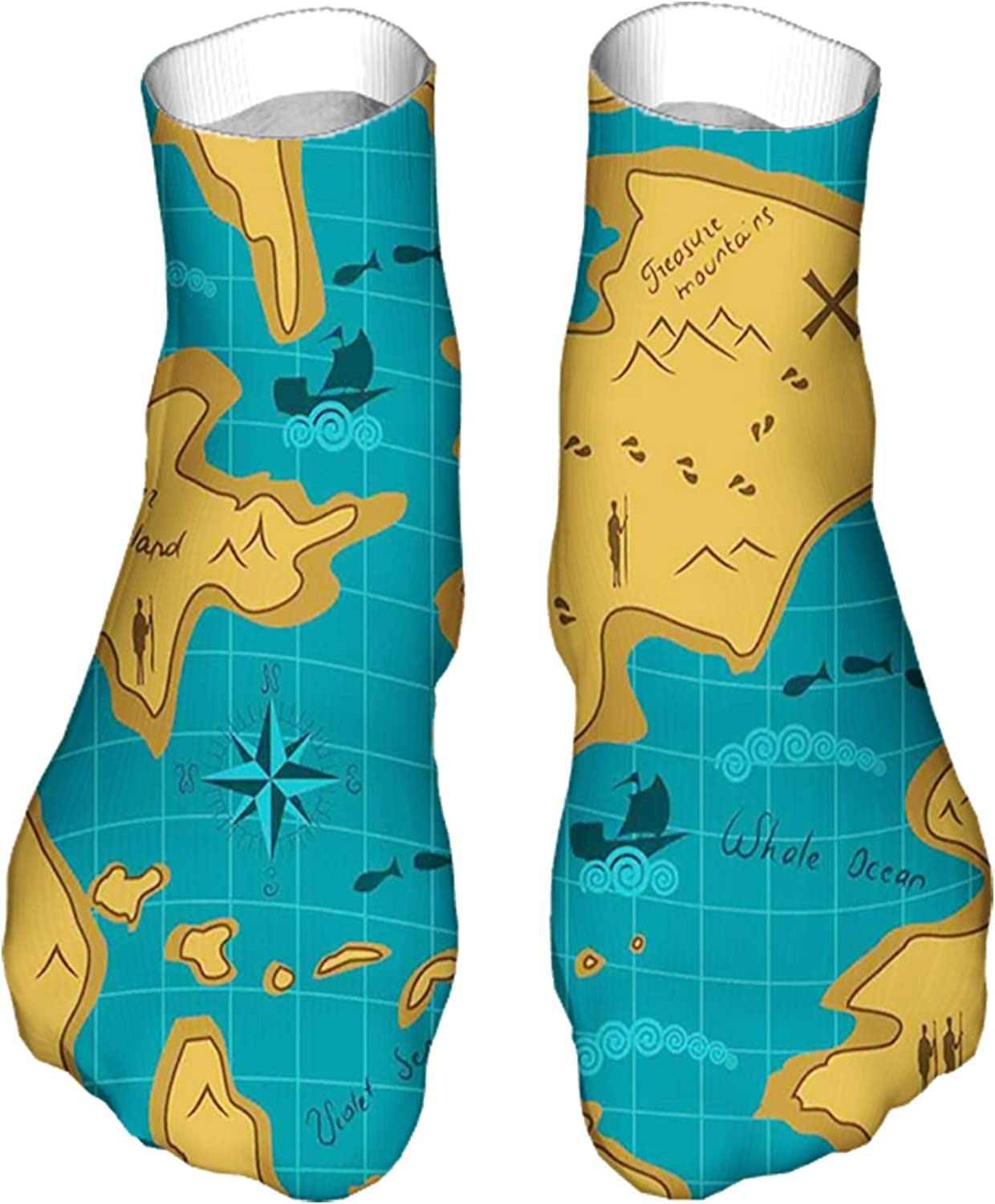 Men's and Women's Funny Casual Socks Historical Adventure Map Pattern with Sail Boats Direction