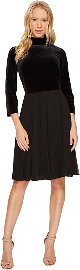 Adrianna Papell Velvet Mock Neck Fit and Flare Dress