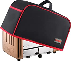 TCCMETR Toaster Cover,2 Slice Toaster Dust Cover with 2 Pockets,Open Pockets Kitchen Small Appliance Cover with Handle, Dust and Fingerprint Protection,Stain Resistant/Washable,Black