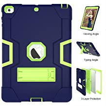 iPad Air Case, iPad 5 Case, UZER Heavy Duty Shockproof Anti-Slip Silicone High Impact Resistant Hybrid Three Layer Armor Protective Case Cover with Kickstand for iPad Air/iPad 5 2013 Model