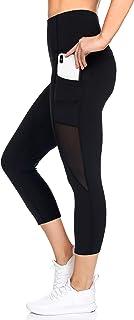 BSP Better Sports Performance Women's High Waist Leggings - 7/8 Workout Pants with Mesh Pocket,Non See-Through