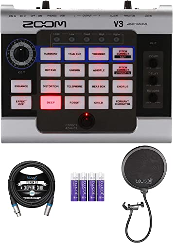 wholesale Zoom V3 new arrival Multi-Effects Vocal Processor with USB 2.0 Audio Interface and 48V Phantom Power Bundle outlet online sale with Blucoil 10-FT Balanced XLR Cable, 4 AA Batteries, and Pop Filter Windscreen outlet online sale