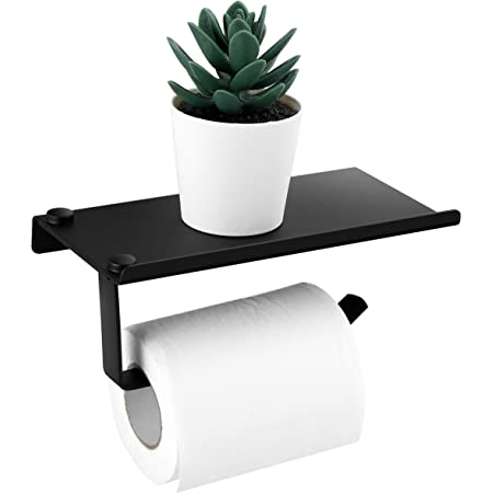 PREUP Porte Papier Toilette, Support Papier Rouleau Acier INOX SUS 304, Colle Auto-adhésive et Mural pour Salle de Bain WC avec Plateforme de Rangement (Noir)