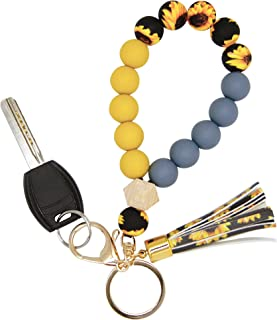 Sponsored Ad - Silicone Key Ring Bracelet Wristlet Keychain Unique Beaded Bangle Key Chains for Women with Leather Tassel