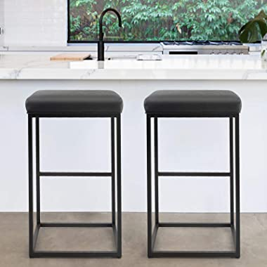 PHI VILLA Bar Stools Set of 2,30 Inches Square Leather Counter Height Bar Stools Without Back for Kitchen,Dining Room and Liv