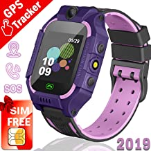Kids GPS Tracker Watch,【SIM Card Edition】Smart Watch Phone for 3-12 Years kids Toddlers Boys Girls, 1.44' HD Touch Screen Two-Way Call Voice SOS Game Smartwatch (1. Purple-pink GPS WATCH + SIM CARD)