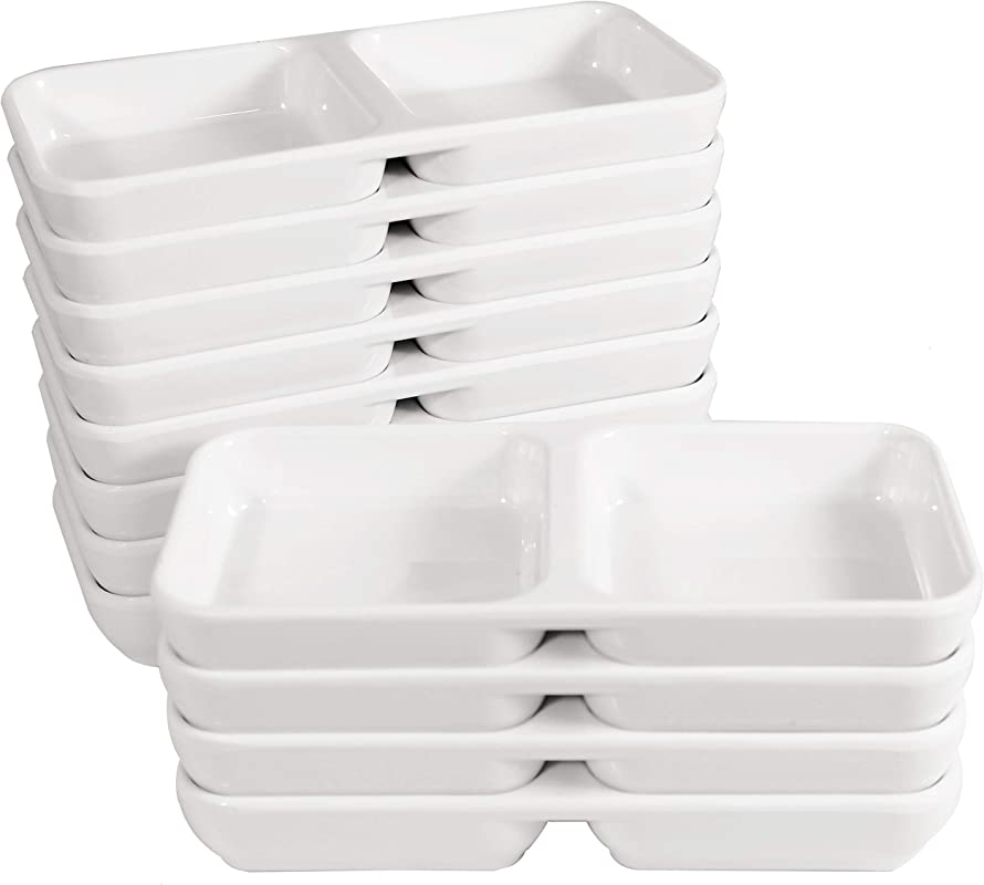 Melamine Stackable Twin Sauce Dish With Pan Scraper 5 75 Inch By 2 75 Inch Set Of 12 White