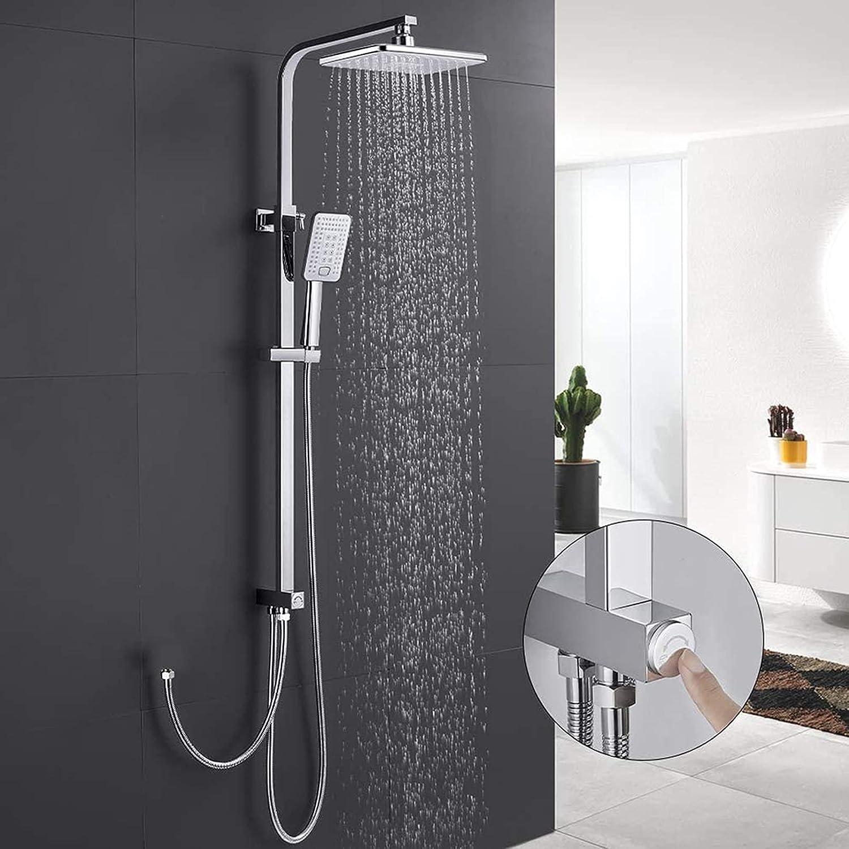 WOOHSE Sistema de ducha, ducha de lluvia, 3 tipos de chorro, ducha de mano, juego de ducha sin grifo, soporte de pared, juego de ducha con cambiador, barra de ducha de altura regulable