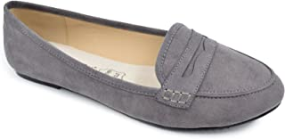 Greatonu Women's Faux Suede Comfort Slip-on Penny Loafer Flat Shoes