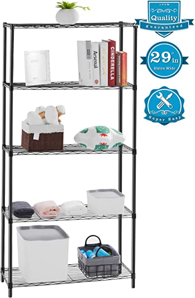 AOOU Shelf 5 Tier Shelving Unit 29 Extra Wide Wire Shelving For Large Storage Classic Metal Steel Storage Rack Sturdy For Use In Pantry Living Room Kitchen Garage Coated With Black