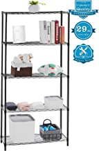 "AOOU Shelf 5-Tier Shelving Unit, 29"" Extra Wide Wire Shelving for Large Storage, Classic Metal Steel Storage Rack Sturdy for use in Pantry, Living Room, Kitchen, Garage, Coated with Black"