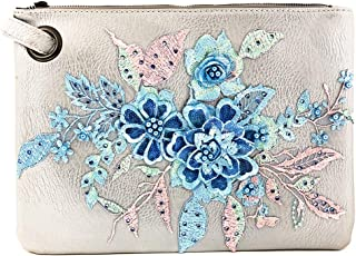 Hand-Embroidered Applique Clutch Evening Large Handbag PU Leather
