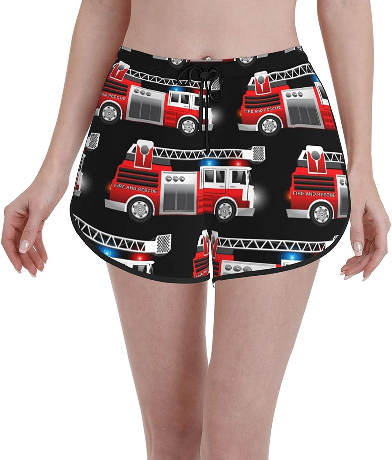 Comfortable Casual Board Shorts for Women Girls,A Red Fire and Rescue Truck,Quick Dry Swim Trunks Beach Wear Sportswear,S