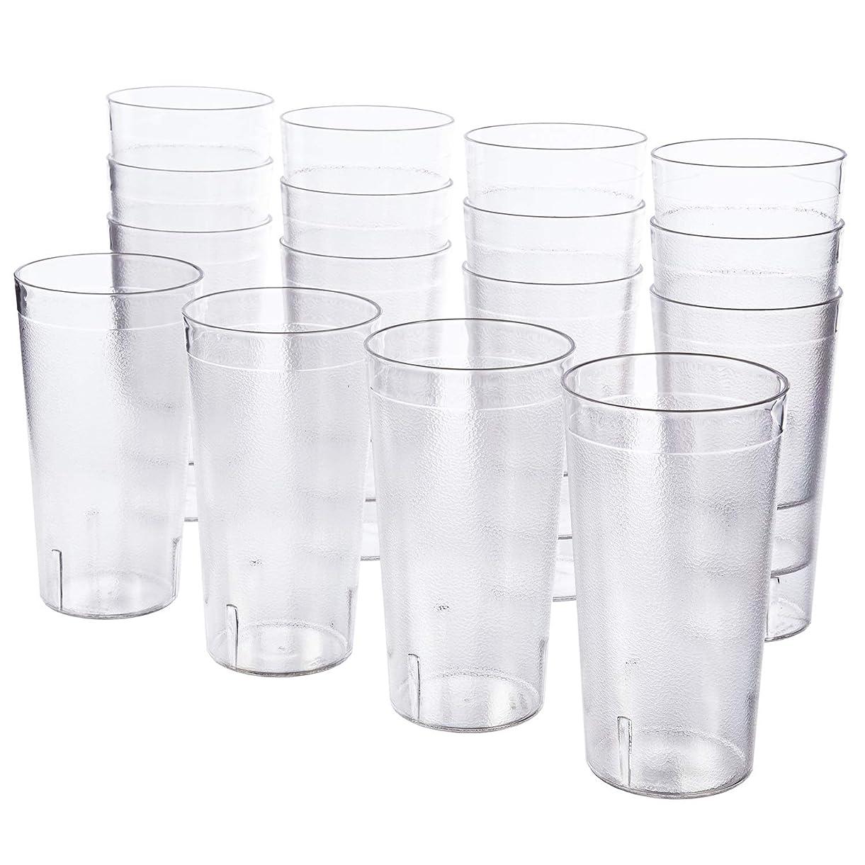 床どちらも吸収剤(Clear) - Cafe Break-Resistant Commercial-Grade Plastic 590ml Restaurant-Quality Beverage Tumblers - Set of 16 Clear