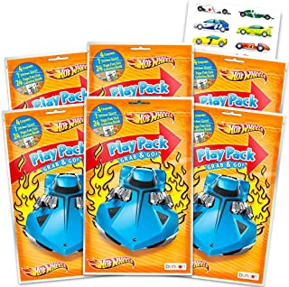 Hot Wheels Party Favors Pack ~ Bundle of 6 Hot Wheels Play Packs Filled with Stickers, Coloring Books, Crayons with Bonus Stickers (Hot Wheels Party Supplies)