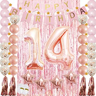 14th Birthday Decorations Party Supplie Rose Gold for Girls-Confetti Latex Balloon,Foil Mylar Star,Tassel Garland,Tinsel Foil Fringe Curtains,Happy Birthday Banner as Photo Booth Props,Gift,Backdrop