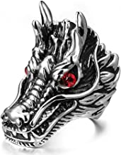 SAINTHERO Men's Gothic Stainless Steel Band Rings Silver Black Vintage Dragon Head with Red Eye Biker Rings Size 7-13