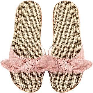 [アンノウン] 夏用 室内 室外 おしゃれ 女子用スリッパ かわいい 蝶結び 編み物 麻 通気性 レディース ビーチ 水泳 サンダル