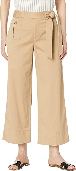 Belted Twill Wide-Leg Pants