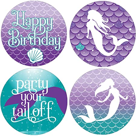 Printed Favor Label  Mermaid in Waves Customized Labels  Baby Shower Favor  Birthday Party Favors  2 or 2.5 Circles  MW21
