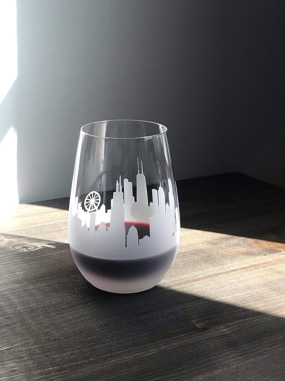 Chicago City セール品 SALE開催中 Skyline Stemless Wine Glasses set Panorama 2 of -
