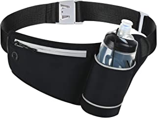 Coolpin Running Waist Pack Belt Bag with Water Bottle Holder Reflective Fanny Pack for Jogging Riding Walking