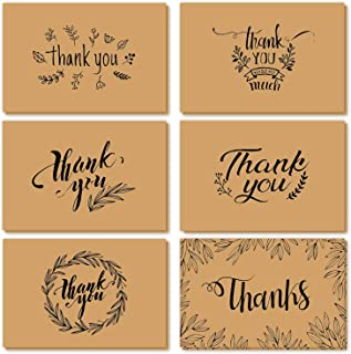 Thank You Cards of Ohuhu, 36 Pack Brown Kraft Paper 6 Design of Assorted Thank U Greeting Note Card with Envelopes and Stickers for Graduation, Business, Wedding, Baby Shower, Blank Inside, 4 x 6 Inch