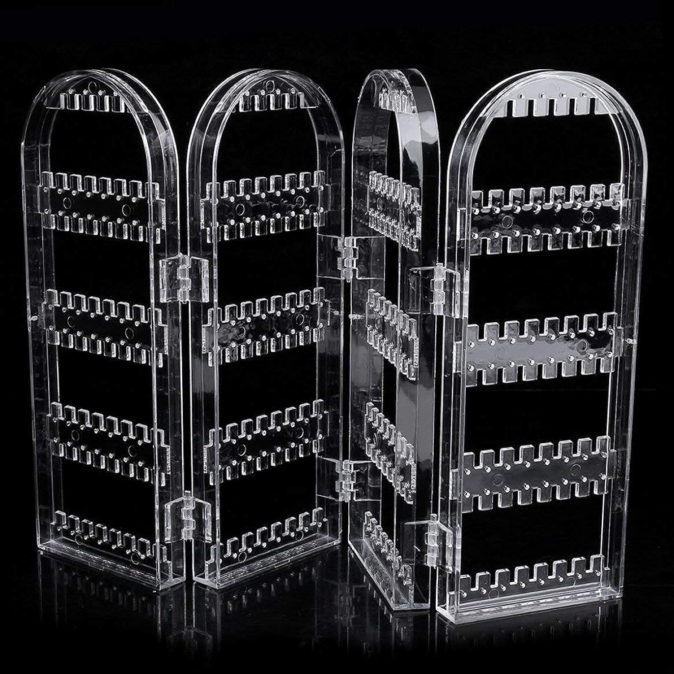 未払いスリラーフィールド透明な多機能プラスチック折りたたみ画面イヤリングジュエリーディスプレイスタンドホルダーラック収納ボックスジュエリー-クリア