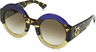 Gucci Women's GG0084S 002 Sunglasses, Bluee/Brown, 51