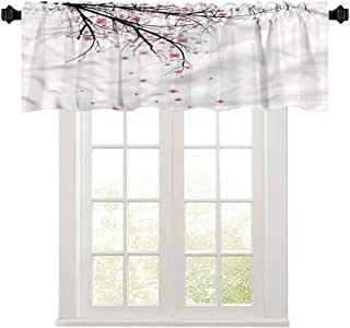 """Window valances Nature,Cherry Blossom Flower 50"""" W x 18"""" L Thermal Insulated Valance for Bathroom"""