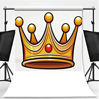 Vector Crown on White Background Photography Backdrop,097514 for Photography,Flannelette:5x7ft