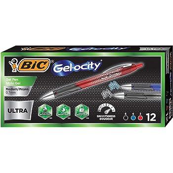 BIC Gel-ocity Ultra Retractable Gel Pen, Assorted, 12-Count