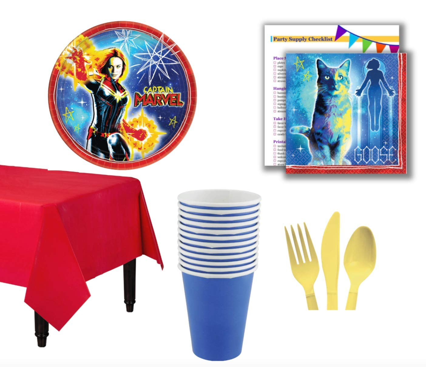 CAPTAIN MARVEL Birthday Party Plates Napkins Plastic Cups
