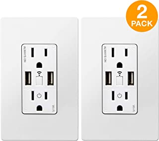 TOPGREENER Smart Wi-Fi in-Wall Tamper Resistant Dual USB Charger Outlet, Compatible with Alexa, Google Assistant, IFTTT, 15A Receptacle, No Hub Required, TGWF215U2A, 2-Pack, 2 Pack, White, 2