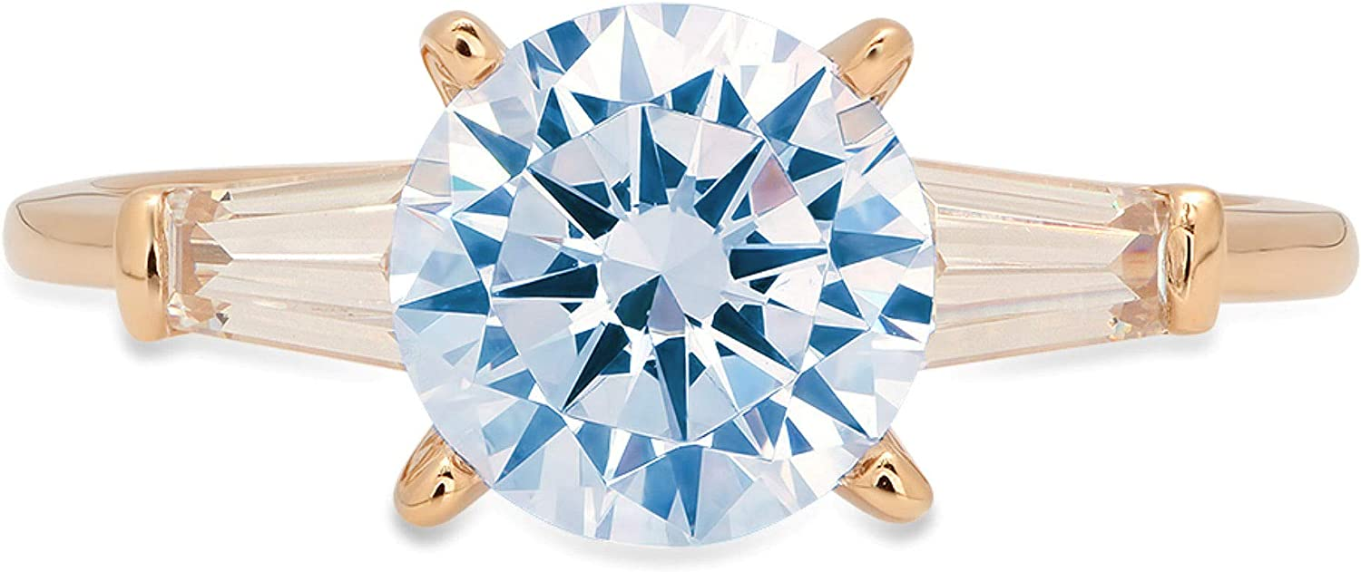 1.94ct Round Baguette Brilliant Cut 3 stone Solitaire Natural Swiss Blue Topaz Gemstone VVS1 Engagement Promise Statement Anniversary Bridal Wedding with accent Ring 18k Yellow Gold